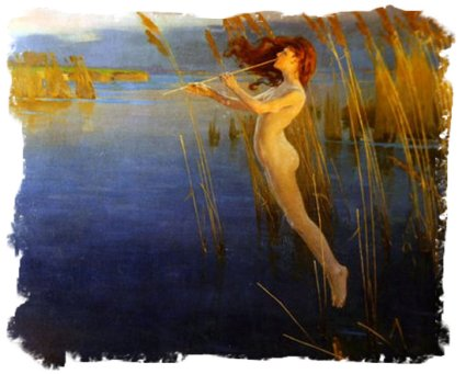 Alexander Mann's portrayal of a reed nymph - 'The Long Cry of the Reeds'